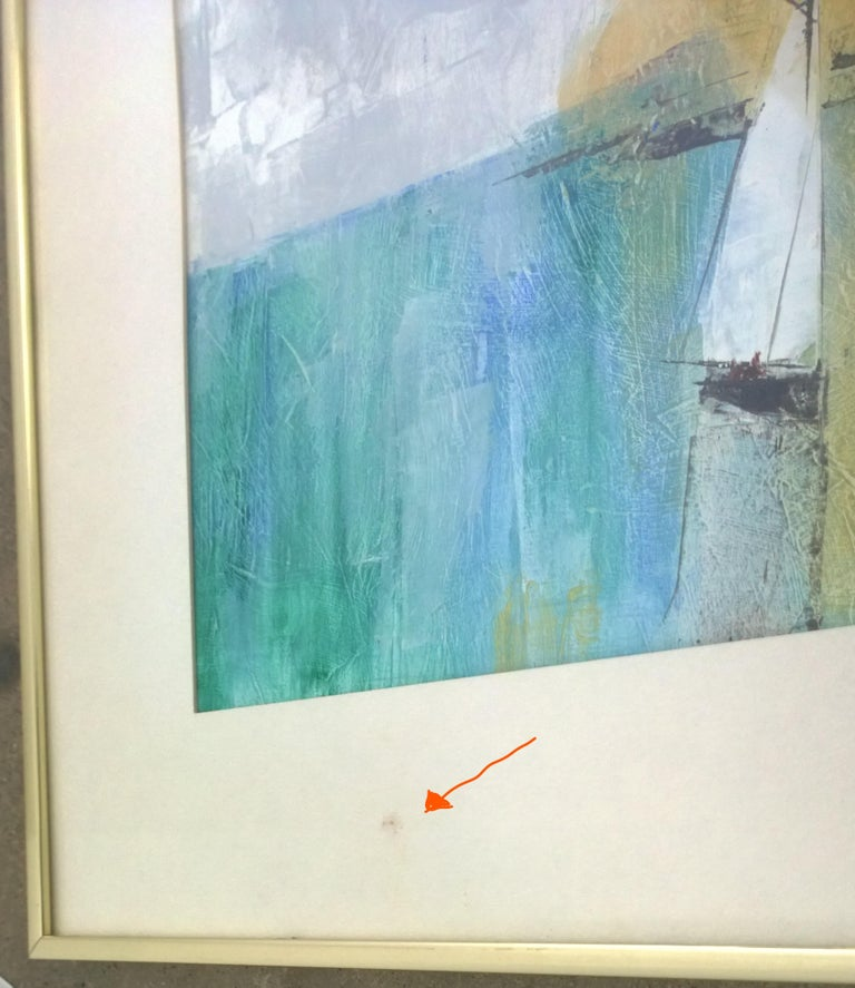 Pat Bowers Seascape Blue, Green & Yellow Mixed-Media Abstract Painting on Paper For Sale 9