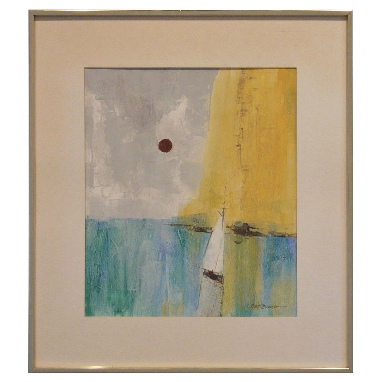 Pat Bowers Seascape Blue, Green & Yellow Mixed-Media Abstract Painting on Paper For Sale