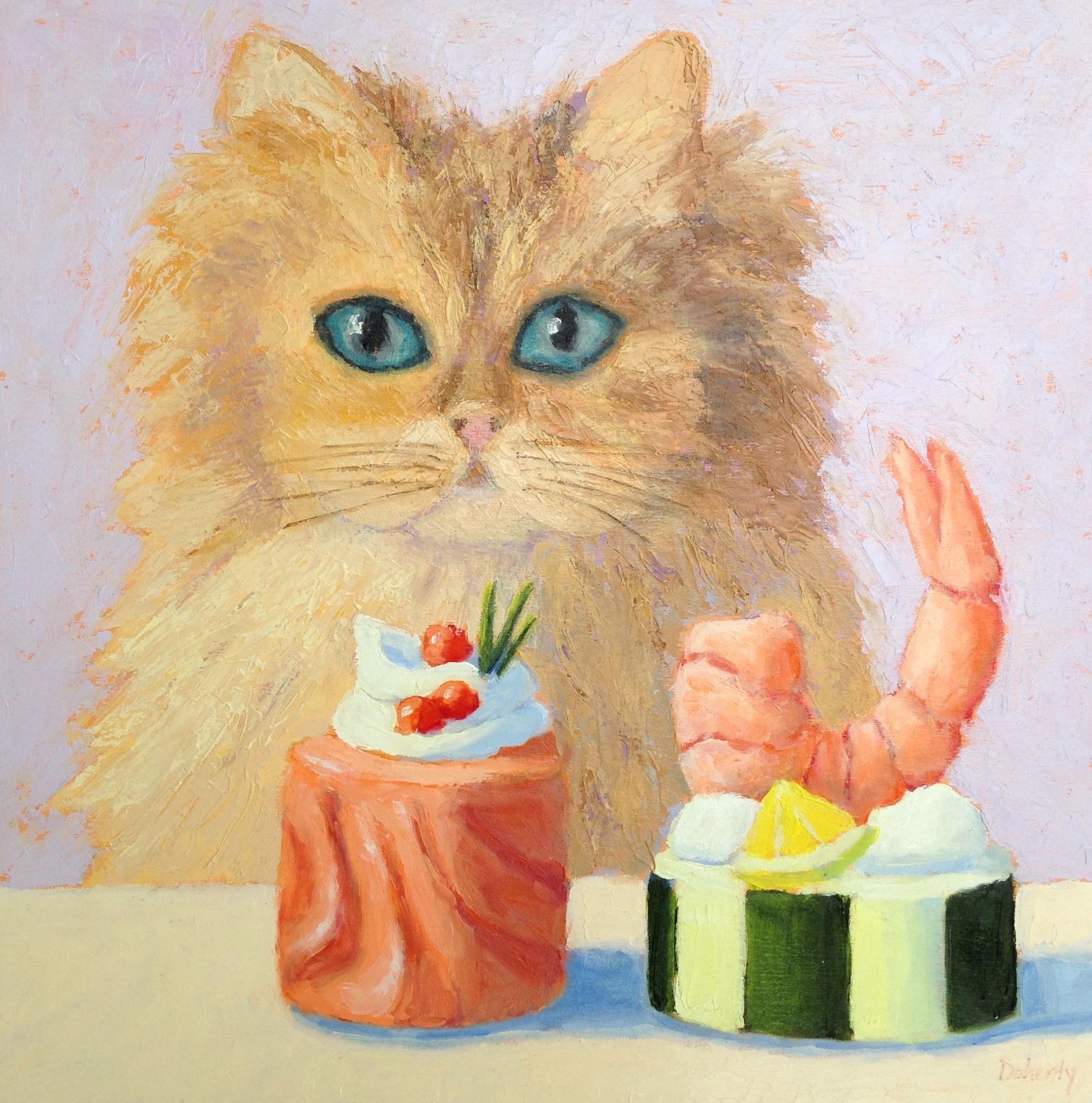 Sushi Cat, Oil Painting
