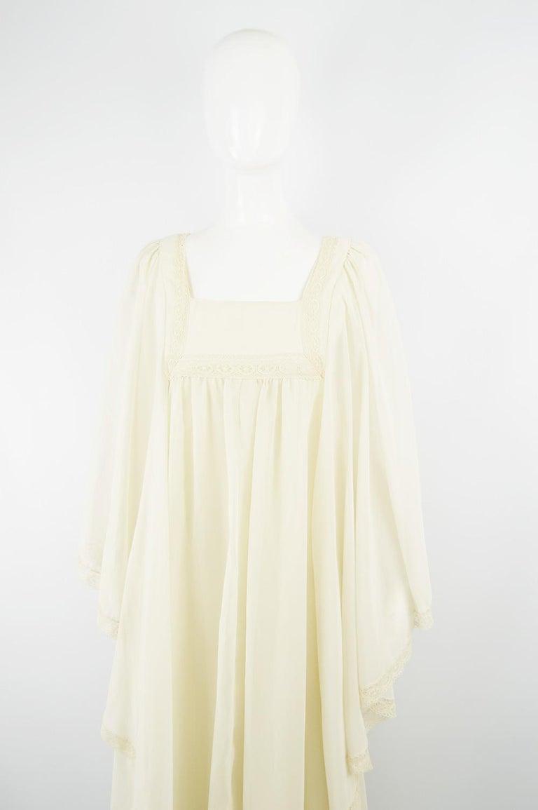 Beige Pat Farrell Vintage 1970s Lace Trim Maxi Angel Sleeve Bohemian Wedding Dress For Sale