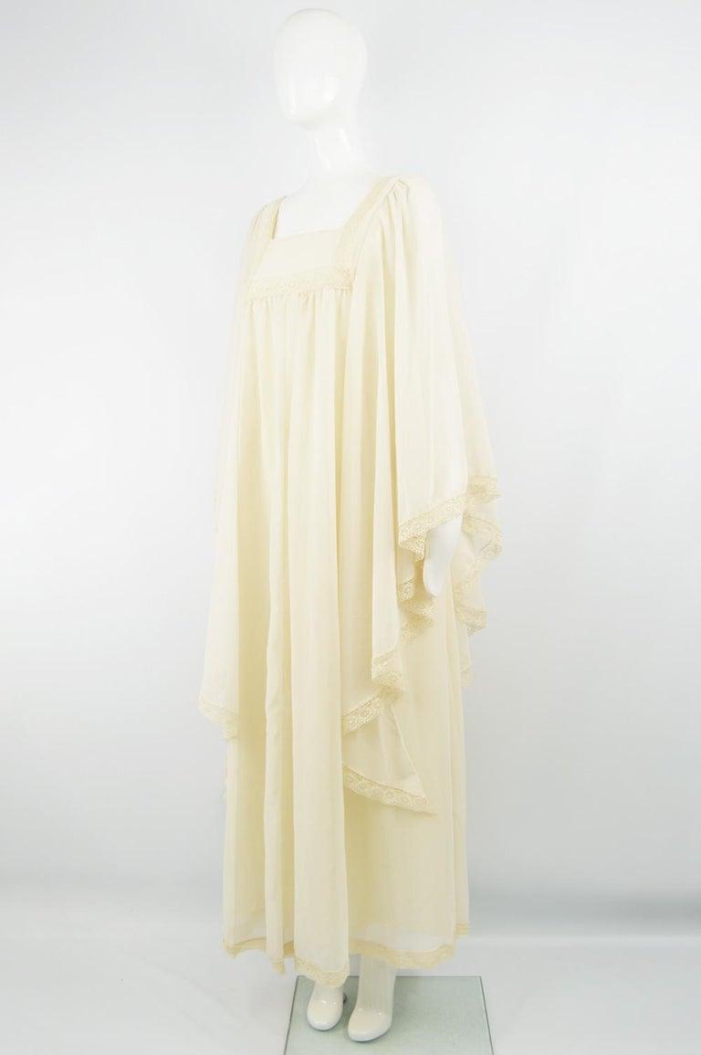 Women's Pat Farrell Vintage 1970s Lace Trim Maxi Angel Sleeve Bohemian Wedding Dress For Sale