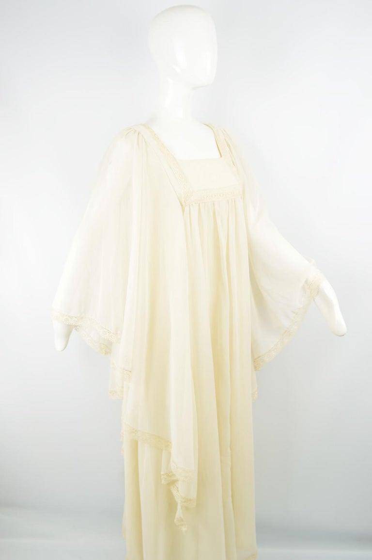 Pat Farrell Vintage 1970s Lace Trim Maxi Angel Sleeve Bohemian Wedding Dress For Sale 1
