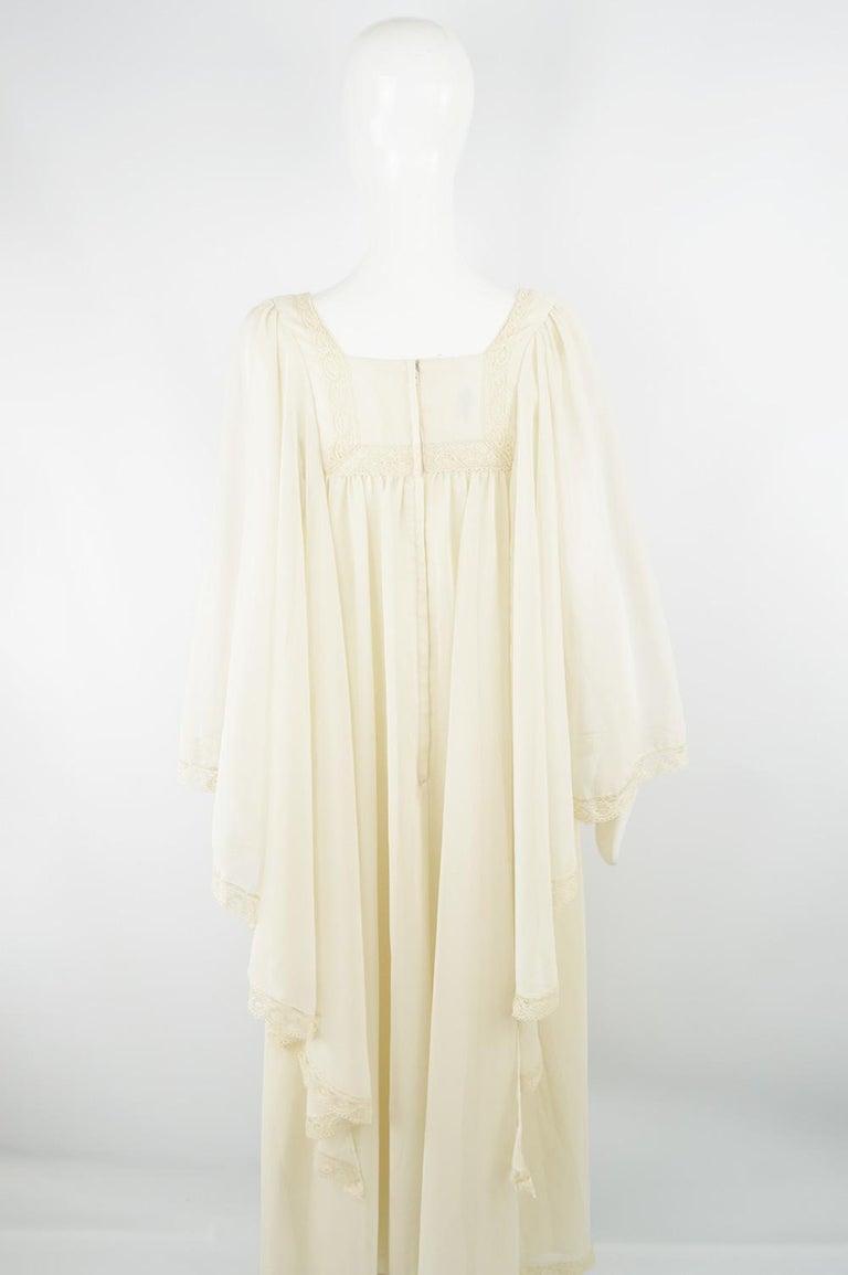 Pat Farrell Vintage 1970s Lace Trim Maxi Angel Sleeve Bohemian Wedding Dress For Sale 2