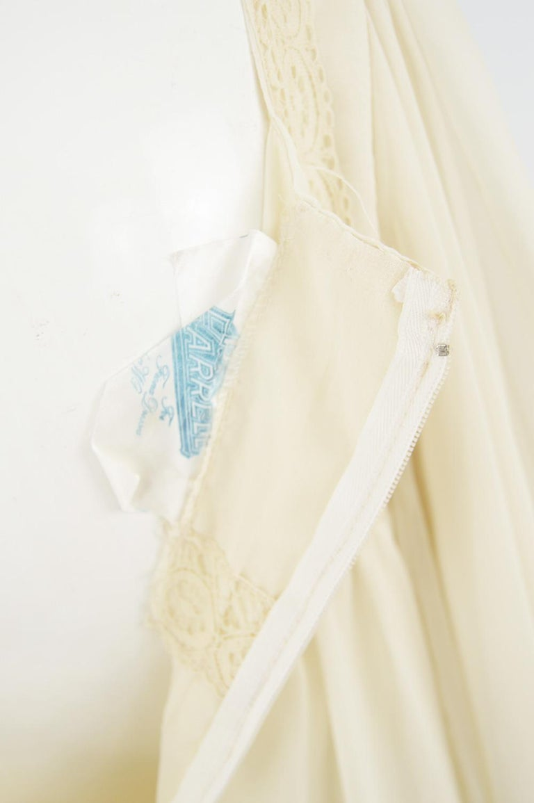 Pat Farrell Vintage 1970s Lace Trim Maxi Angel Sleeve Bohemian Wedding Dress For Sale 3