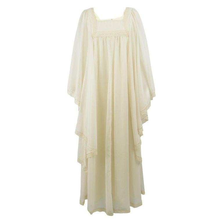Pat Farrell Vintage 1970s Lace Trim Maxi Angel Sleeve Bohemian Wedding Dress For Sale