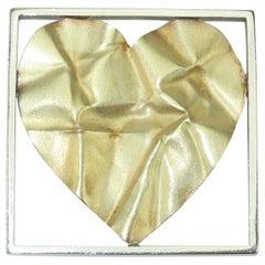 Pat Flynn 18K Gold & Sterling Silver Crumpled Heart Brooch