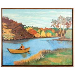 "Pat Jensen, Oil On Canvas, ""Falls River"""