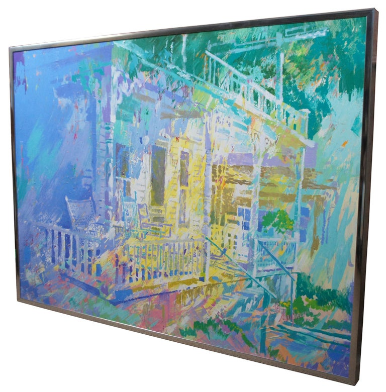 """Impressionist architectural painting of a colonial porch reminiscent of New Orleans with rocking chairs under a balcony, oil on canvas signed by artist Pat Mayhew.  Sans frame - 47"""" x 35""""."""