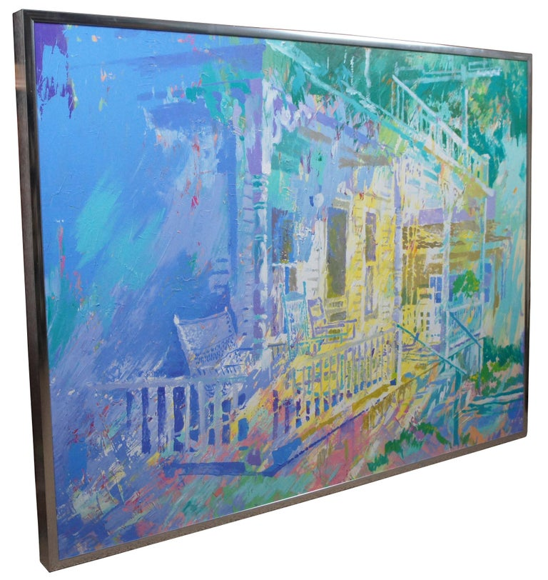 Expressionist Pat Mayhew Original Signed Oil Painting on Canvas Impressionist Painting For Sale