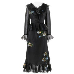 PAT SANDLER for LILLIE RUBIN c.1960's Black Hand Painted Floral Tulip Dress