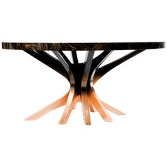 Patch Dining Table in Copper Leaf With Translucid Black Gradient