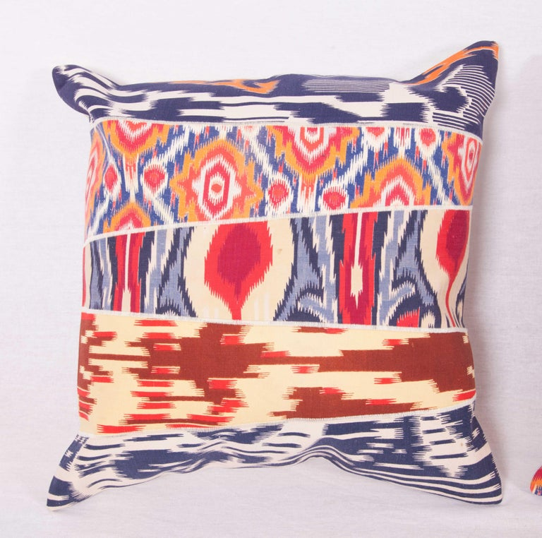 Tribal Patch Work Pillow Cases Fashioned from Old and Antique Russian Trade Cloth For Sale