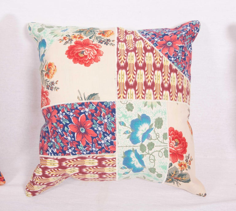 20th Century Patch Work Pillow Cases Fashioned from Old and Antique Russian Trade Cloth For Sale