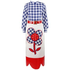 PATCHES ST LOUIS c.1970's 3 Pc Red White Blue Gingham Floral Top Skirt Belt Set