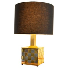 Patchwork Brass and Chrome Lamp, 1970s