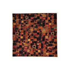 Patchwork Gabbeh Square Wool and Silk Handmade Oriental Rug