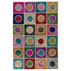 Patchwork Rug Made of Overdyed Vintage Carpets