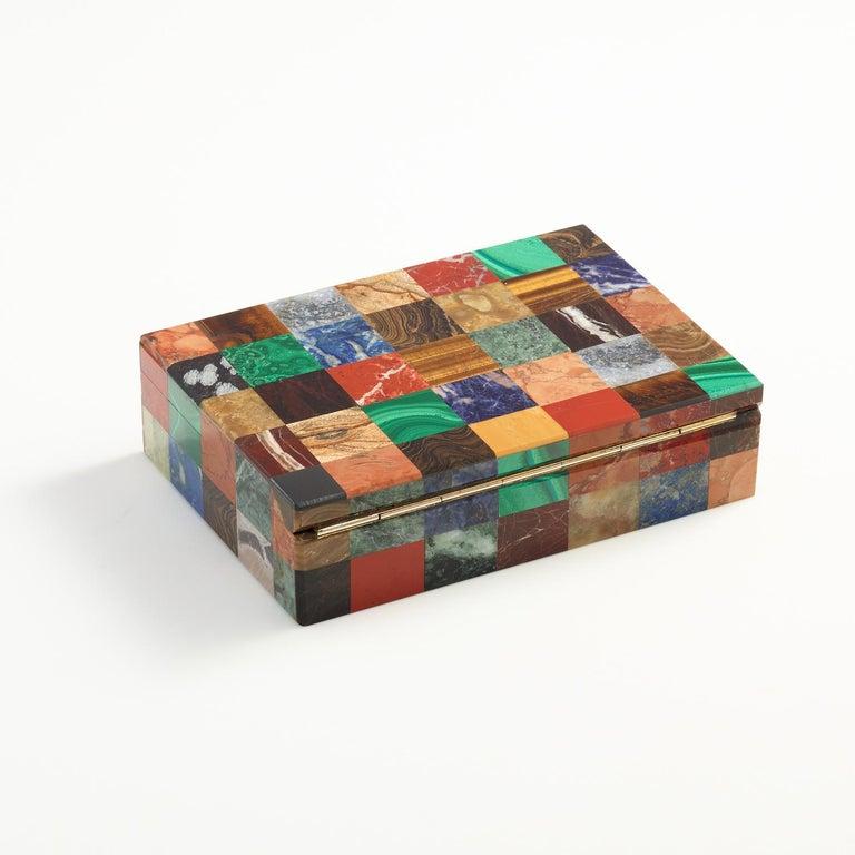Mid-20th Century Patchwork Stone Specimen Box, Italian, circa 1930 For Sale