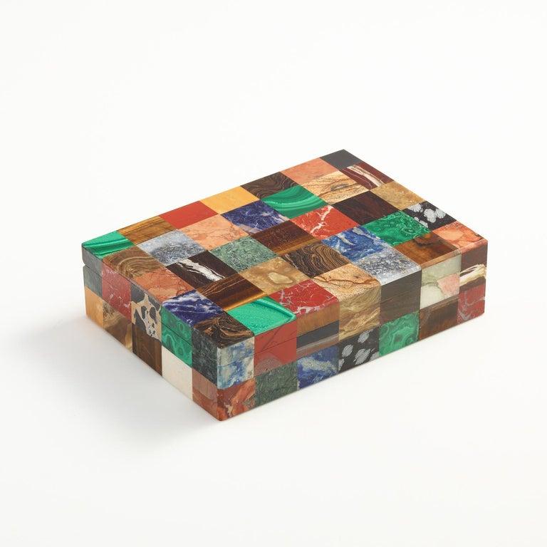 Onyx Patchwork Stone Specimen Box, Italian, circa 1930 For Sale