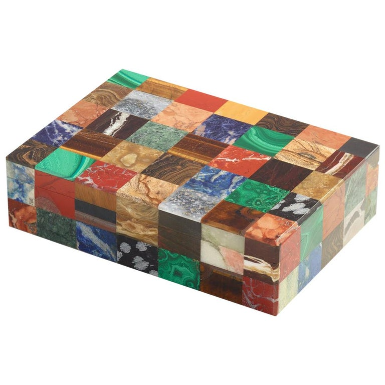 Patchwork Stone Specimen Box, Italian, circa 1930 For Sale