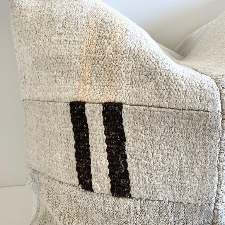 Contemporary Patchwork Turkish Rug Pillow with Insert For Sale
