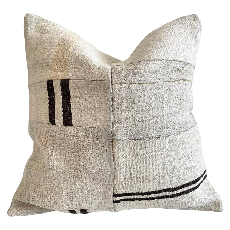 Patchwork Turkish Rug Pillow with Insert For Sale