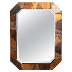 Patchwork Vellum Mirror in the Style of Karl Springer