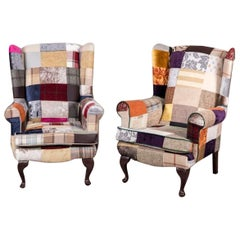 Patchwork Wing Chair, 20th Century