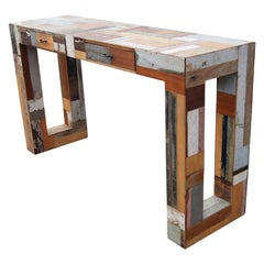 Patchwork Wooden Parsons Style Console