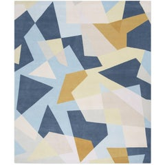 'Patchwork Blue' Hand-Knotted Contemporary Geometric Wool and Silk Tibetan Rug