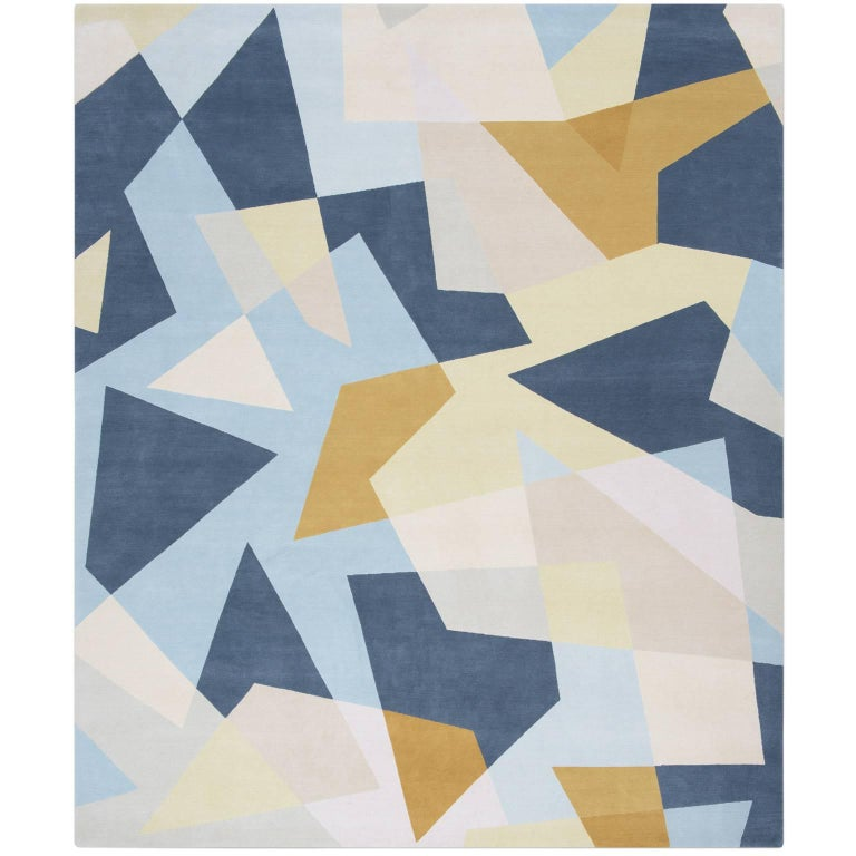 Wool Silk Rugs Contemporary: Blue Modern Rug In Silk And Wool, Evolution Of Antique