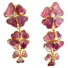 Pate de Verre 3 Clover Clip earrings