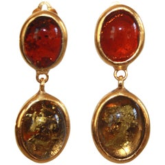 Pate de Verre and Gold Leaf Clip Earrings