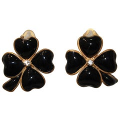Pate de Verre Black Clover Clip Earrings