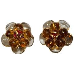 Pate De Verre Camélia Clip Earrings