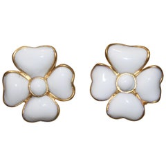 Pate De Verre Clover Clip Earrings