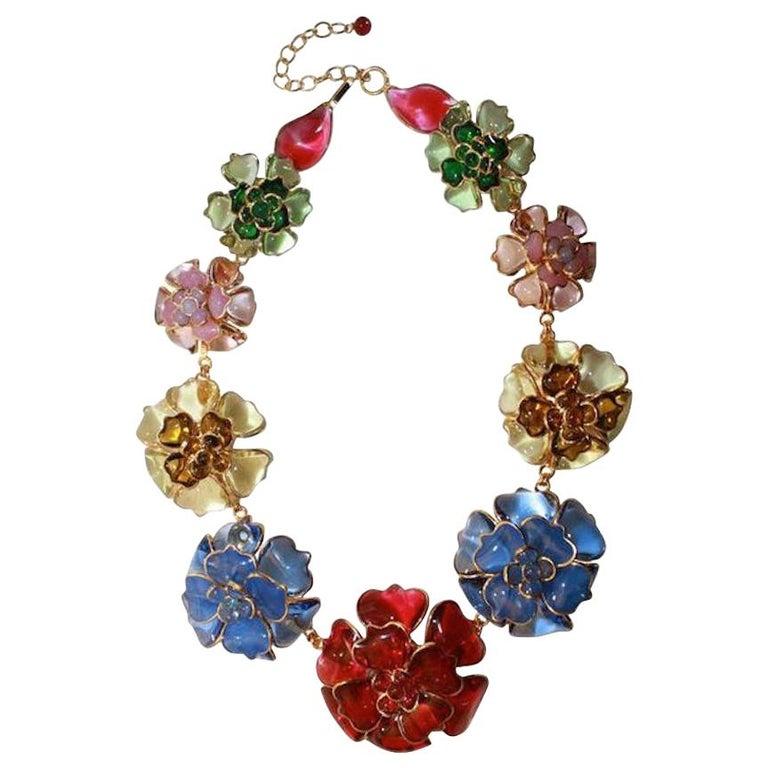 Pate de Verre Collection Nine Camelia Necklace For Sale