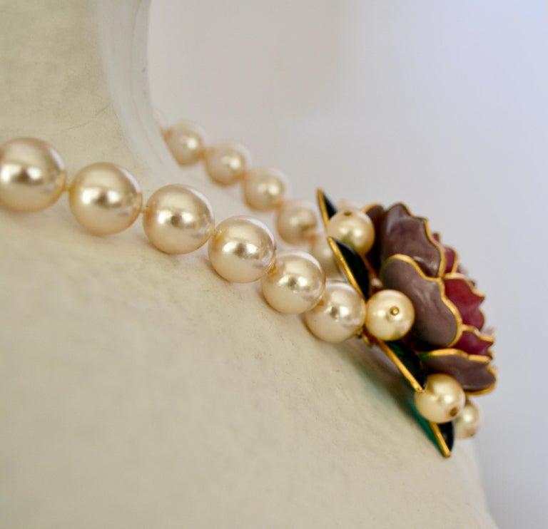 Women's Pate de Verre Collection Rose Necklace For Sale