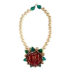 Pate de Verre Collection Rose Necklace