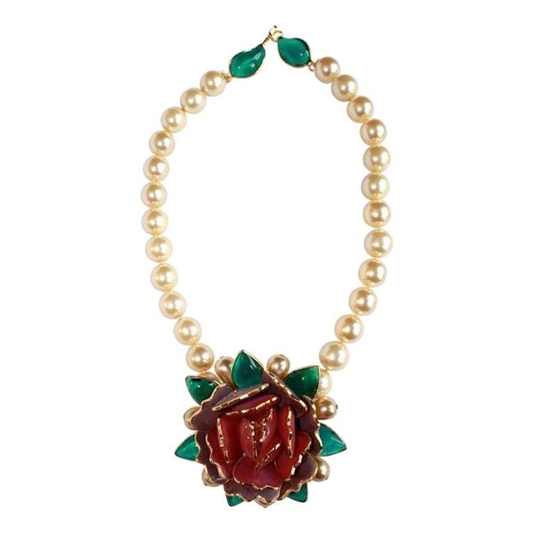 Pate de Verre Collection Rose Necklace For Sale