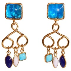 Pate de Verre Glass Blue Clip Earrings