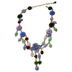 Pate de Verre Multi Color Drop Necklace