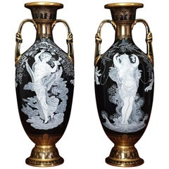 "Pate Sur Pate Black & White Large Vases ""VENIT & FUGIT"", 19th Century"