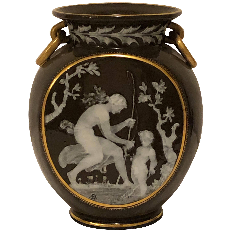 Pate-Sur-Pate Pilgrim Shaped Vase with Monogram for Marc Louis Solon