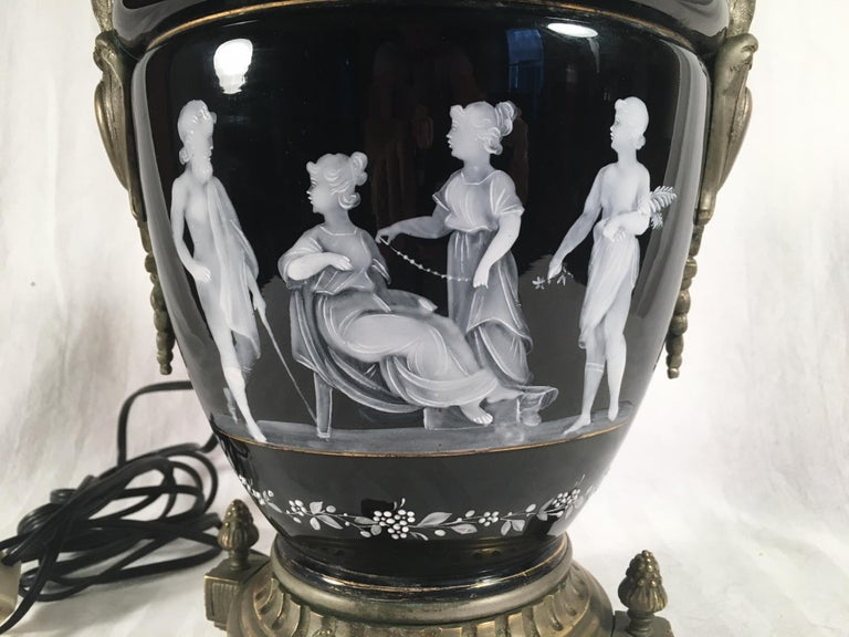 Pate-Sur-Pate Porcelain Table Lamp with Bronze Mount For Sale 2