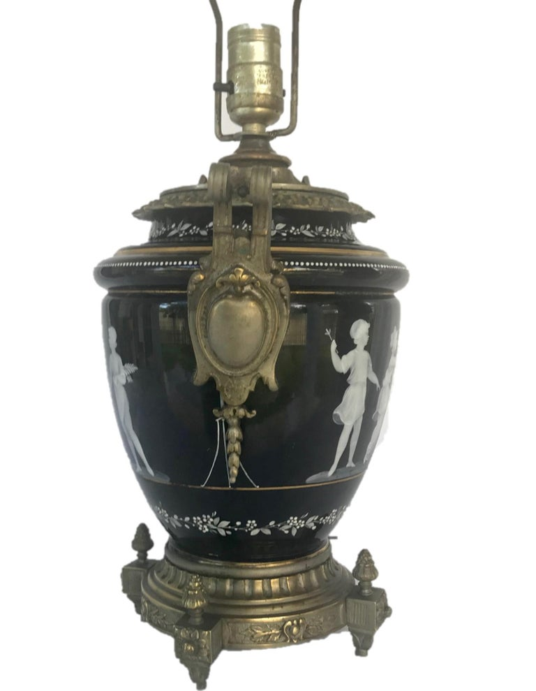 Victorian Pate-Sur-Pate Porcelain Table Lamp with Bronze Mount For Sale
