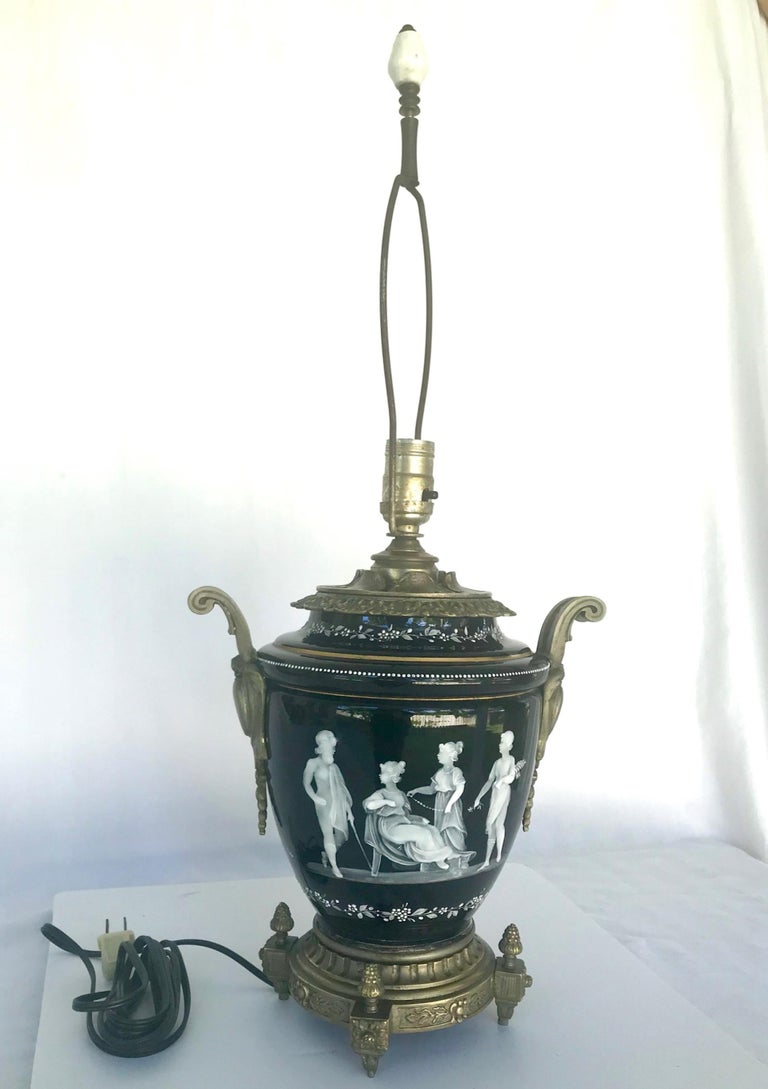 19th Century Pate-Sur-Pate Porcelain Table Lamp with Bronze Mount For Sale