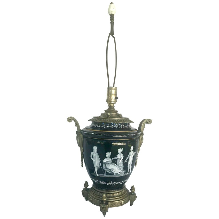 Pate-Sur-Pate Porcelain Table Lamp with Bronze Mount For Sale