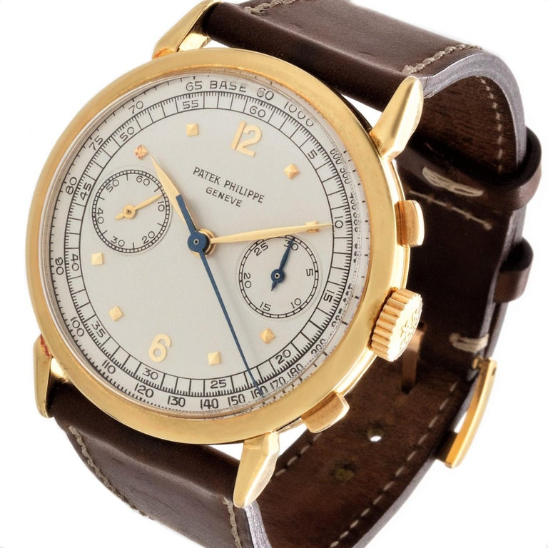 Modern Patek Philippe 1579J Chronograph Oversized Large Watch, circa 1951 For Sale