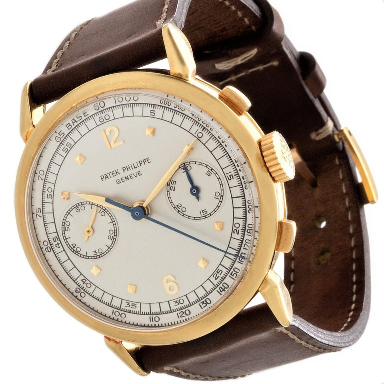 Patek Philippe 1579J Chronograph Oversized Large Watch, circa 1951 In Excellent Condition For Sale In Santa Monica, CA